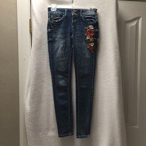 Indigo Rein Jeans with embroidery skinny size 1